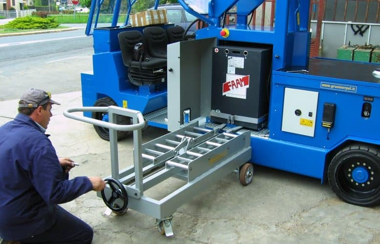 Battery changing system for lifting cranes.